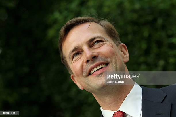 New German government spokesman Steffen Seibert arrives to speak to the media on August 16 2010 in Berlin Germany Seibert is scheduled to be...