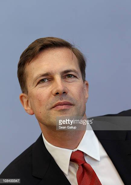 New German government spokesman Steffen Seibert speaks to the media on August 16 2010 in Berlin Germany Seibert is scheduled to be officially...
