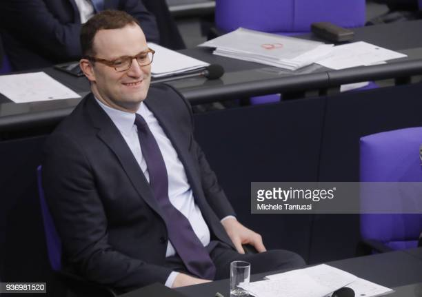 New German Health Minister and Christian Democrat Jens Spahn arrives to present the new coalition government's health policy at the Bundestag on...