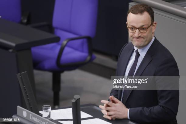 New German Health Minister and Christian Democrat Jens Spahn presents the new coalition government's health policy at the Bundestag on March 23 2018...