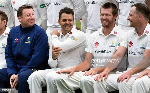 New Glamorgan head coach Robert Croft shares a joke with his players Jacques Rudolph Michael Hogan and Graham Wagg during the 2016 Glamorgan Cricket...