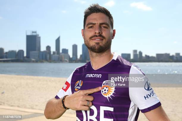 New Glory signing Bruno Fornaroli poses following a media a Perth Glory ALeague press conference at the South Perth foreshore on March 22 2019 in...