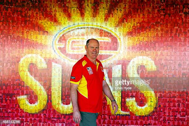 New Gold Coast Suns head coach Rodney Eade poses after speaking to media at Metricon Stadium on October 31 2014 in Gold Coast Australia
