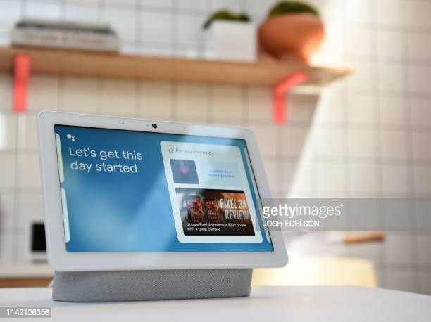 A new Google Nest Hub Max is displayed during the Google I/O conference at Shoreline Amphitheatre in Mountain View California on May 7 2019