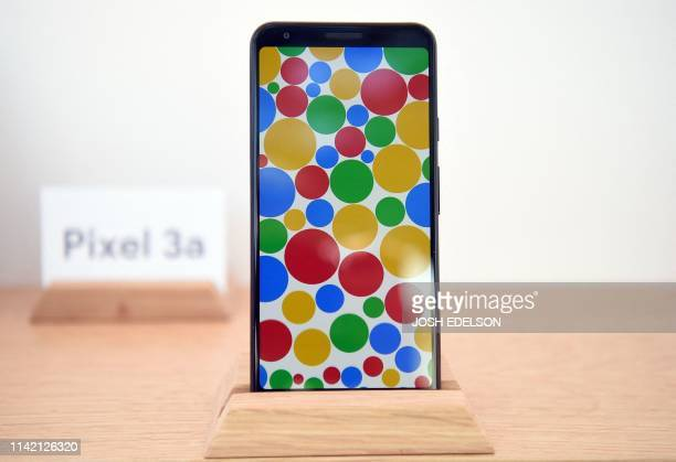 A new Google Pixel 3a phone is displayed during the Google I/O conference at Shoreline Amphitheatre in Mountain View California on May 7 2019