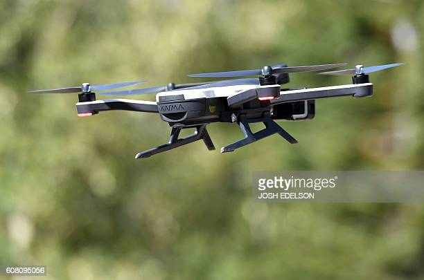 A new GoPro Karma foldable drone is seen flying during a press event in Olympic Valley California on September 19 2016 / AFP / JOSH EDELSON