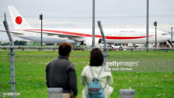 A new government plane arrives at New Chitose Airport on August 17 2018 in Chitose Hokkaido Japan One 777300ER costs about 37 billion yen They are...