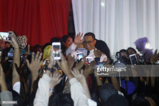 New Governor of Jakarta Anies Baswedan greet the peoples after handover ceremony and give his first political speech at City Hall Jakarta on Monday...