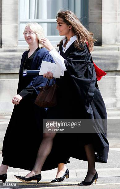 New graduate Kate Middleton the girlfriend of Prince William wears a traditional gown to the graduation ceremony at St Andrew's University to collect...