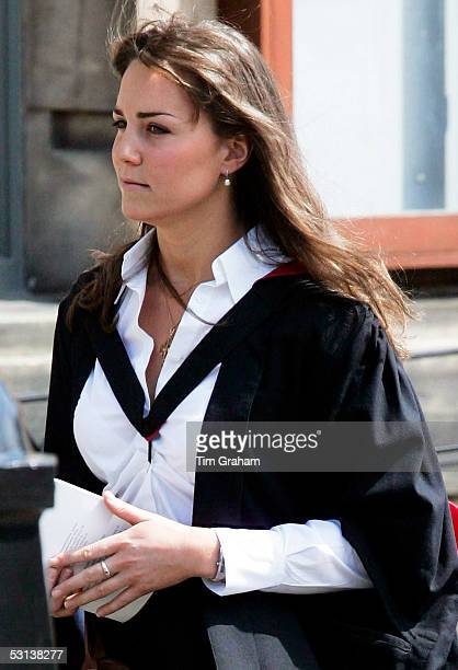 New graduate Kate Middleton wears a traditional gown to the graduation ceremony at St Andrew's University to collect her degree in St Andrew's on...