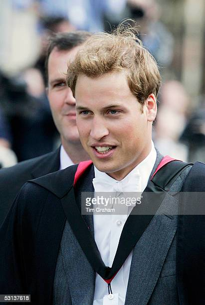 New graduate Prince William attends the graduation ceremony at St Andrews University to collect his 2:1 Master of Arts Degree in Geography in St...