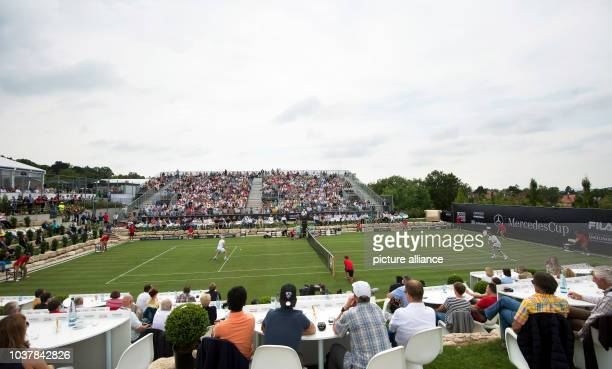 A new grass tennis court during the first time a match of the Mercedes Cup Tennis was played on grass in Stuttgart Germany 07 July 2014 The...
