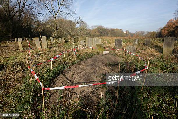 New grave is marked during the renovation of the old Jewish cemetery of 'Zeeburg' in Amsterdam, on November 13, 2011. The large 300 year old Jewish...