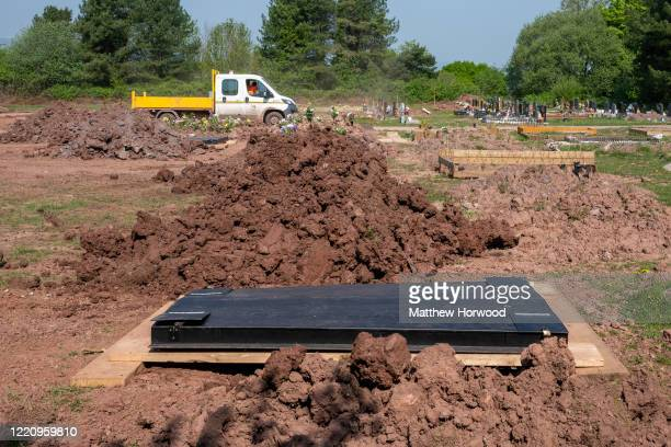 New graves at Christchurch Cemetery during the coronavirus outbreak on April 25 2020 in Newport Wales Over 750 people have died with coronavirus in...