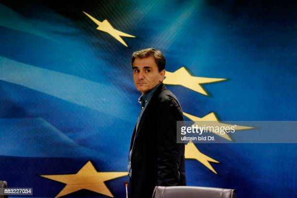 New Greek Finance minister Euclid Tsakalotos during the handover ceremony at the ministry in Athens on July 6 2015