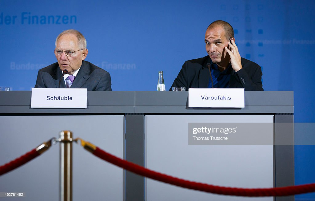 New Greek Finance Minister Yanis Varoufakis (R) and German Finance Minister Wolfgang Schaeuble speak to the media following talks on February 05, 2015 in Berlin, Germany. Varoufakis is touring several European cities and yesterday met with Mario Draghi at the European Central Bank following announcements by the new Greek government to sharply alter its relationship with the troika of loan-giving entities.