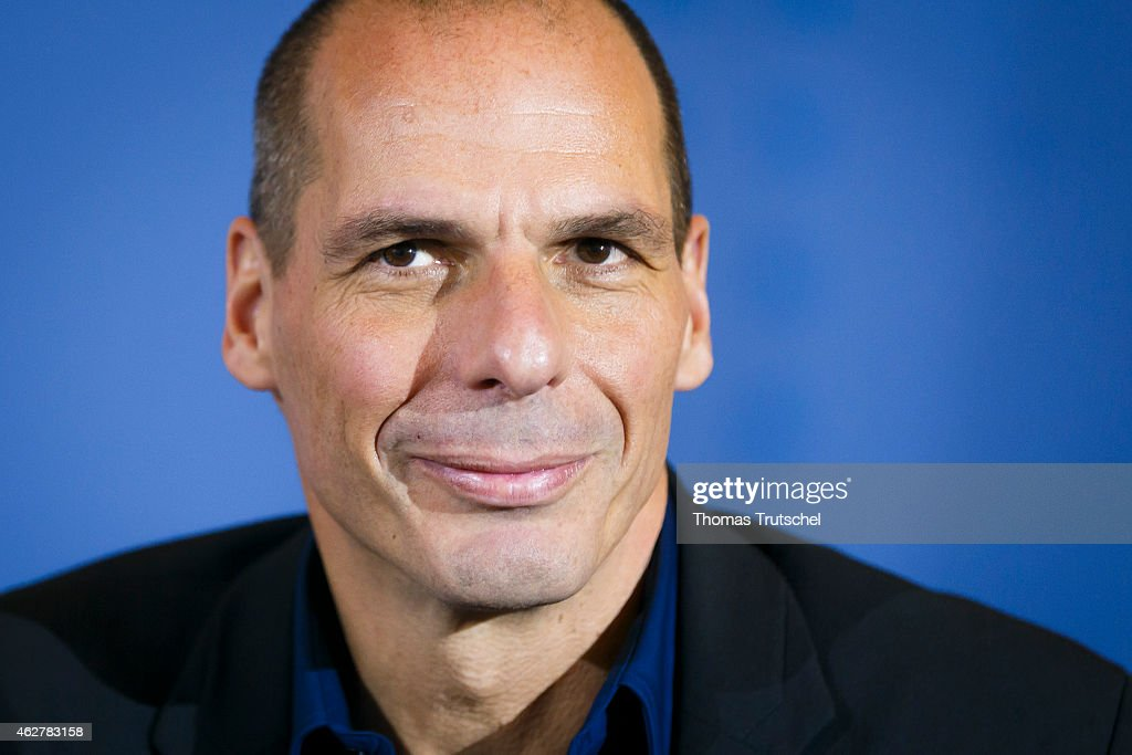 New Greek Finance Minister Yanis Varoufakis speaks to the media following talks with German Finance Minister Wolfgang Schaeuble (not pictured) on February 05, 2015 in Berlin, Germany. Varoufakis is touring several European cities and yesterday met with Mario Draghi at the European Central Bank following announcements by the new Greek government to sharply alter its relationship with the troika of loan-giving entities.