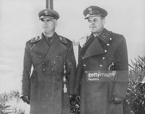 New Greek Prime Minister Georgios Papadopoulos and his deputy Brigadier Stylianos Pattakos pictured in uniform together December 18th 1967