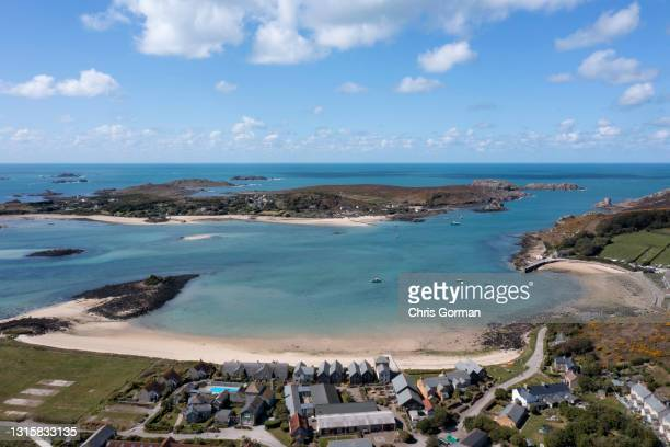 New Grimsby, Tresco, Isles Of Scilly, looking towards Bryher on April 8, 2021. 8th April 2021