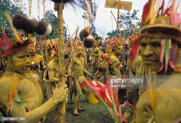 New Guinea, Papua, Goroka Highland show, group of mudmen