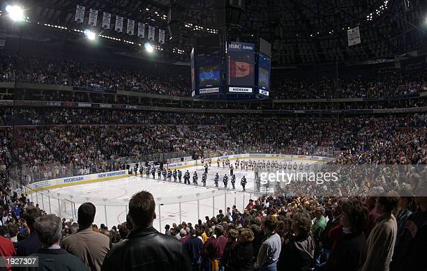 New Hampshire and Minnesota line up for the Canadian and US National anthems before the NCAA Frozen Four Championship game on April 12 2003 at HSBC...
