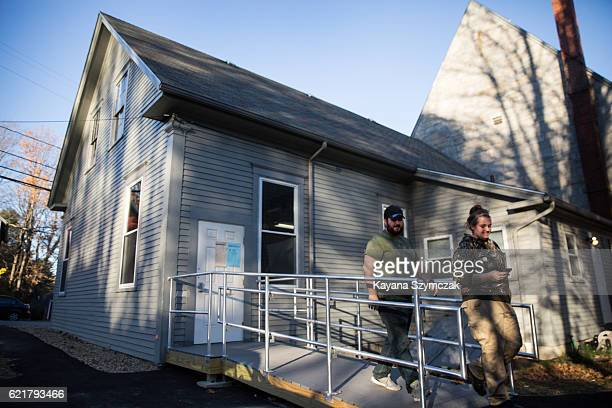 New Hampshire citizens leave the West Congregational Church after voting on November 8 in CONCORD New Hampshire Americans today will choose between...