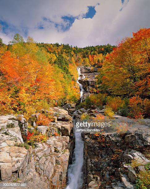 usa, new hampshire, crawford notch state park, silver cascade, autumn - crawford notch stock pictures, royalty-free photos & images