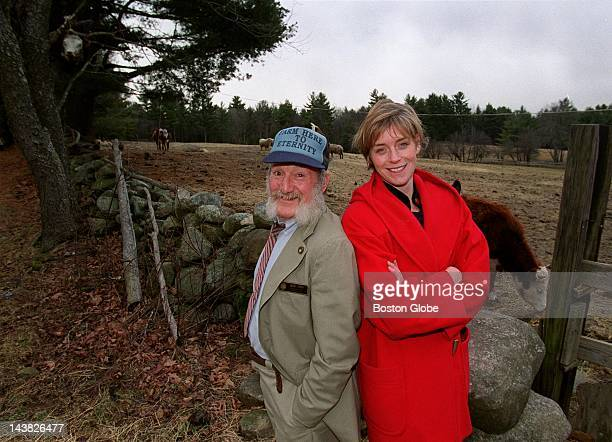 New Hampshire state representatives Derek Owen left and Amy RobbTheraux photographed on Owen's farm They are sponsors of legislation to legalize the...