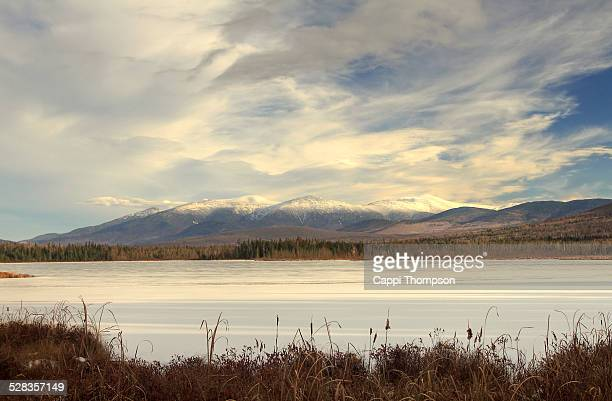 new hampshire white mountains across cherry pond - lake solitude (new hampshire) stock photos and pictures