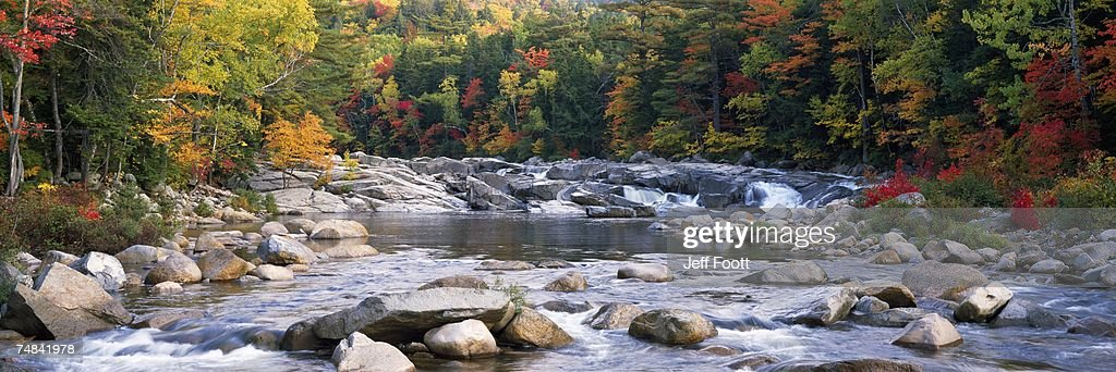 USA, New Hampshire, White Mountains National Forest, River flowing through the wilderness : Foto de stock