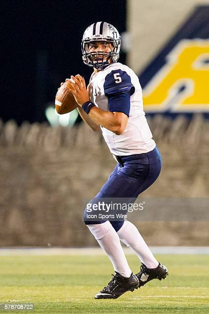 New Hampshire Wildcats quarterback Sean Goldrich looks for an open receiver during game action between the New Hampshire Wildcats, of the Colonial...