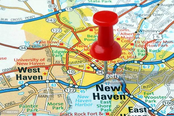 ニューヘヴン、コネチカット州のマップ。 - ニューヘイブン ストックフォトと画像