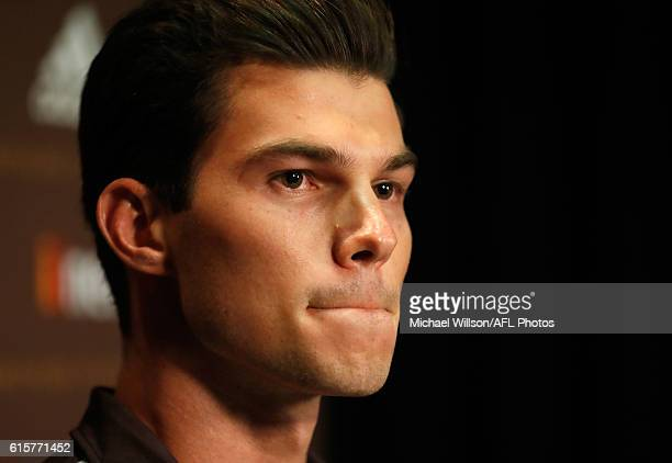 New Hawks recruit Jaeger O'Meara speaks to the media during a Hawthorn Hawks AFL media opportunity at Waverley Park on October 20 2016 in Melbourne...