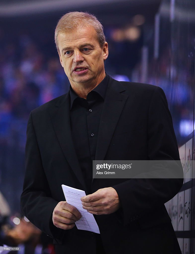 New head coach Bengt-Ake Gustafsson of Ice Tigers looks on during the DEL match between Thomas Sabo Ice Tigers and Straubing Tigers at Arena Nuernberger Versicherung on December 11, 2012 in Nuremberg, Germany.