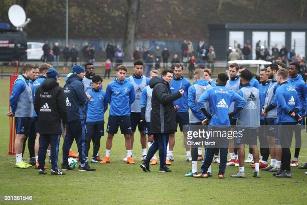 New Head coach Christian Titz in action during the training session at Volksparkstadion on March 13 2018 in Hamburg Germany