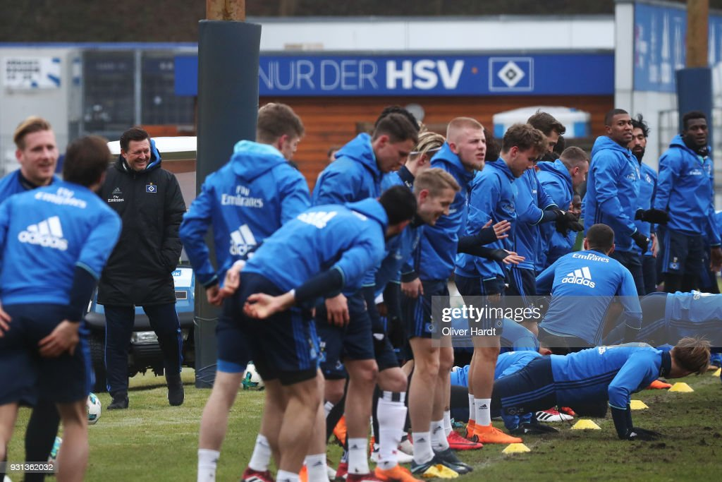 New Head coach Christian Titz in action during the training session at Volksparkstadion on March 13, 2018 in Hamburg, Germany.