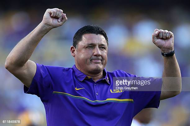 New head coach Ed Orgeron of the LSU Tigers stands on the field before playing the Missouri Tigers at Tiger Stadium on October 1 2016 in Baton Rouge...