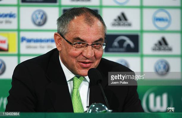 New head coach Felix Magath speaks to the media during a the press conference prior to the training session of VfL Wolfsburg on March 18, 2011 in...