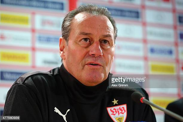 New head coach Huub Stevens of Stuttgart is presented during a press conference at MercedesBenz Arena on March 10 2014 in Stuttgart Germany
