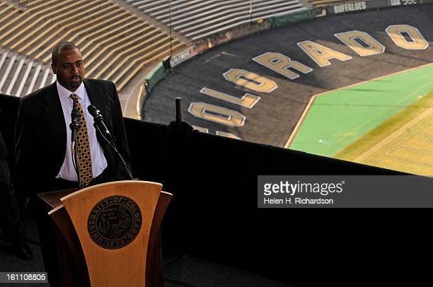 New head coach Jon Embree addresses the media from a platform outside of the Byron R. White Club room on the 5th floor of Folsom stadium. The...