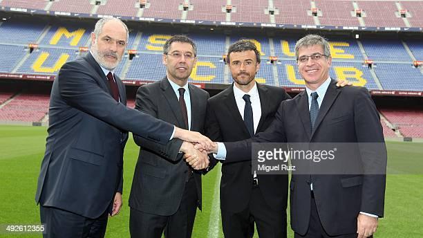 New head coach Luis Enrique of FC Barcelona poses for a photo with Director Football Sports Area Andoni Zubizarreta, President of FC Barcelona Josep...