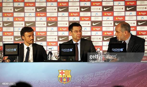 New head coach Luis Enrique of FC Barcelona, President of FC Barcelona Josep Maria Bartomeu and Director Football Sports Area Andoni Zubizarreta...