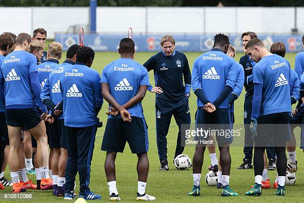 New Head Coach Markus Gisdol of Hamburger Sport Verein during the first training session at Volksparkstadion on September 26 2016 in Hamburg Germany