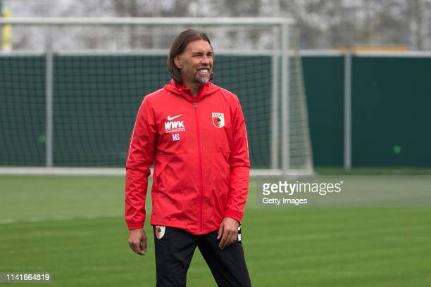 New head coach of FC Augsburg Martin Schmidt is seen during his first training session at Trainingsplaetze an der WWK ARENA on April 10 2019 in...