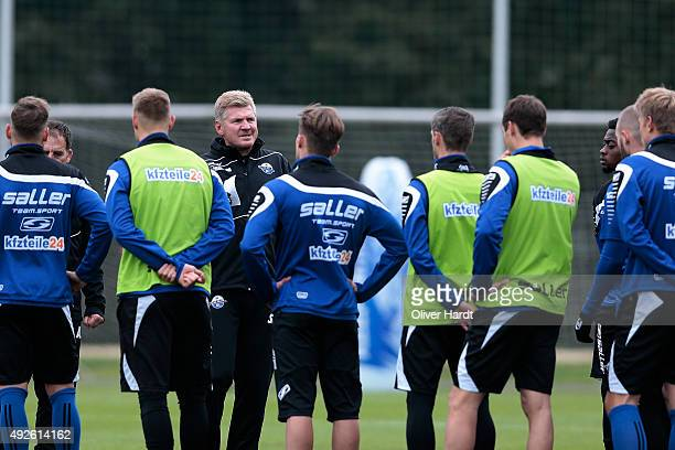 New Head coach Stefan Effenberg of SC Paderborn during the training sesssion on October 14 2015 in Paderborn Germany