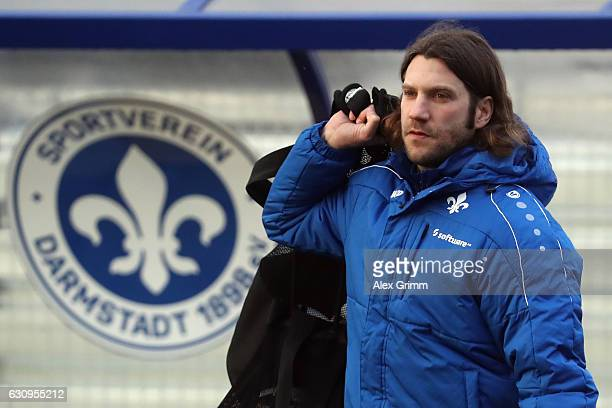 New head coach Torsten Frings arrives for a SV Darmstadt 98 training session at the team's training ground on January 4 2017 in Darmstadt Germany