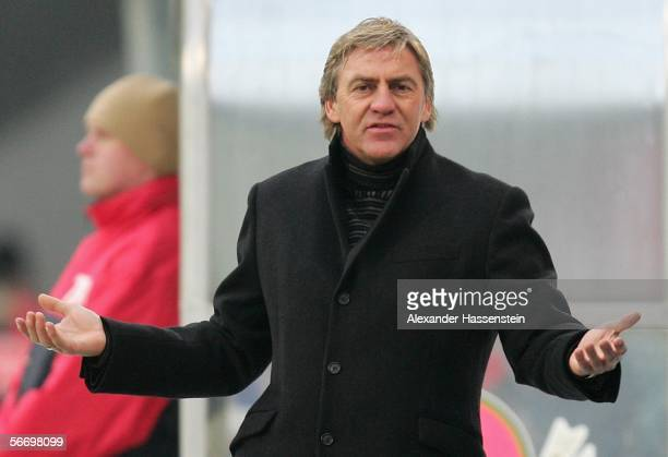 New head coach Walter Schachner of Munich, reacts during the Second Bundesliga match between Hansa Rostock and 1860 Munich at the Ostsee Stadium on...