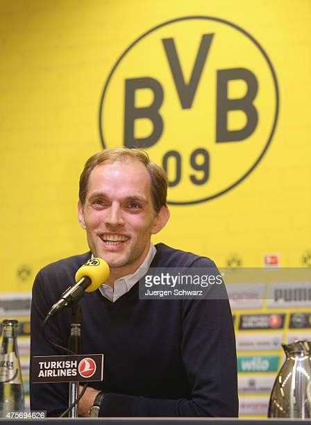 New headcoach of Borussia Dortmund Thomas Tuchel attends a news conference at Signal Iduna Park on June 3 2015 in Dortmund Germany