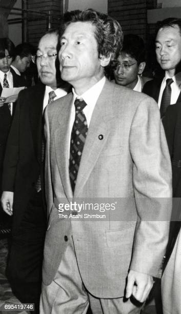 New Health Minister Junichiro Koizumi is seen on arrival at Prime Minister Ryutaro Hashimoto's official residence on November 7 1996 in Tokyo Japan