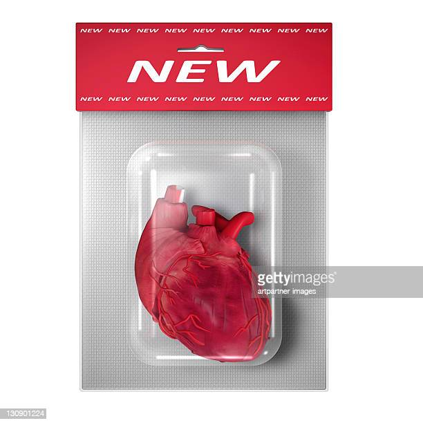 New (Human) Heart in a blister pack on white